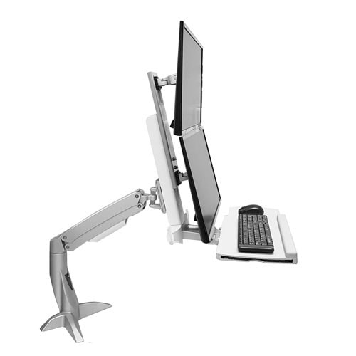 Sit Stand Desk Mount Combo System, WST12EV(Silver & White) 세로2중 거치대
